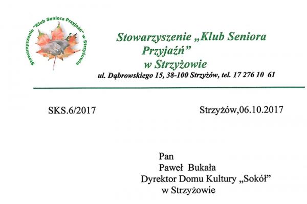 """Stowarzyszenie """"Klub Seniora Przyjaźń"""" – informacja"""
