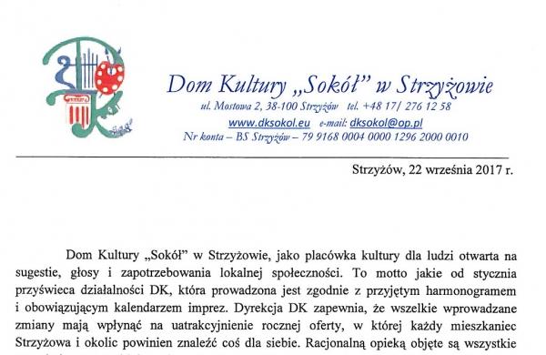 """Dom Kultury """"Sokół"""" – informacja"""