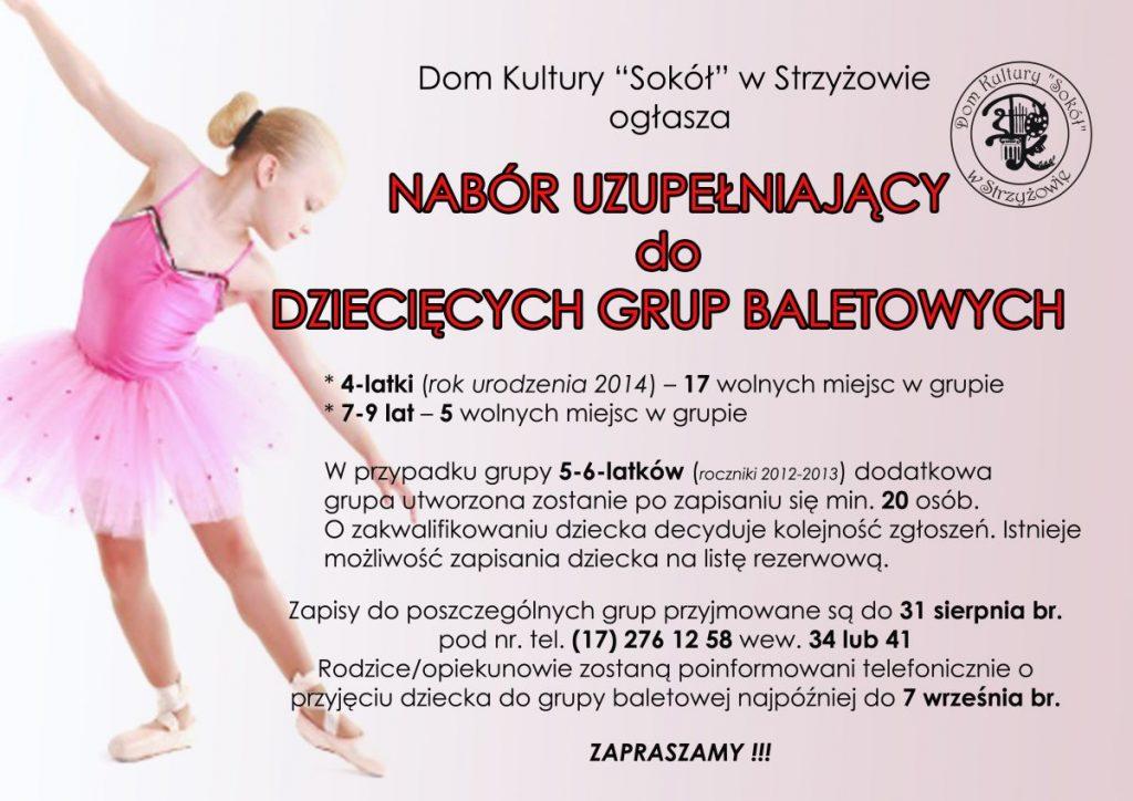 Nabór uzupełniający do  dziecięcych grup baletowych.
