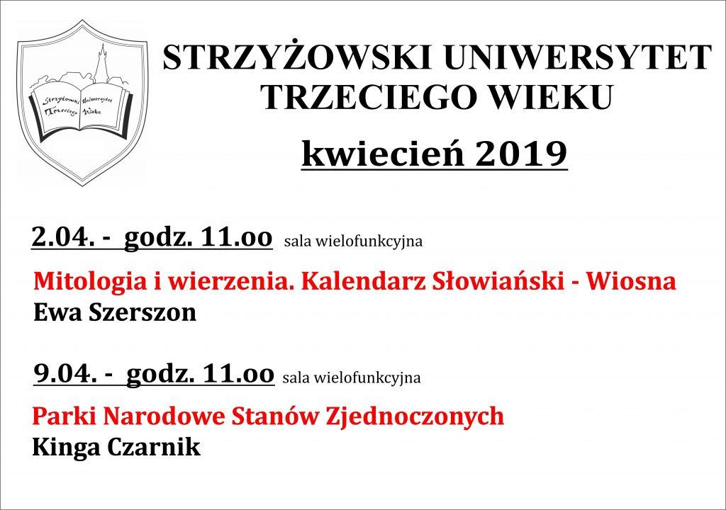 Wykłady SUTW – Kwiecień 2019